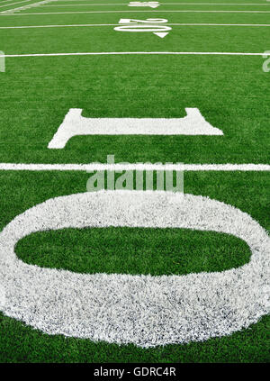 10, 20, & 30 Yard Line on American Football Field - Stock Photo