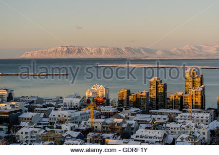 View from Hallgrimskirkja, Lutheran parish church in Reykjavik, Iceland. - Stock Photo
