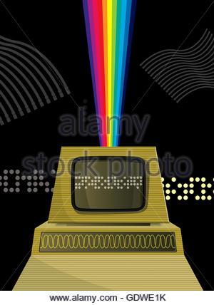 Retro personal computer with rainbow - Stock Photo