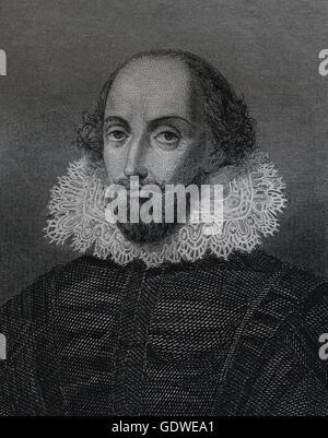 William Shakespeare (1564-1616). English writer. Renaissance. Elizabethan Era. Portrait. Engraving, 19th century. - Stock Photo