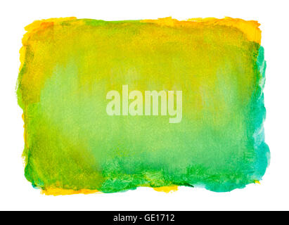 Blue and Yellow Watercolor Background with Copy Space Isolated on White. - Stock Photo