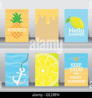 ... Summer, Holiday, Vacation Poster Set. Flat Design. Can Be Use For  Greeting