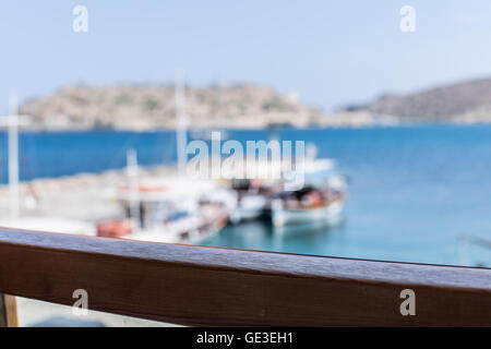 Fishing boats on the Elounda coast of The Crete. - Stock Photo