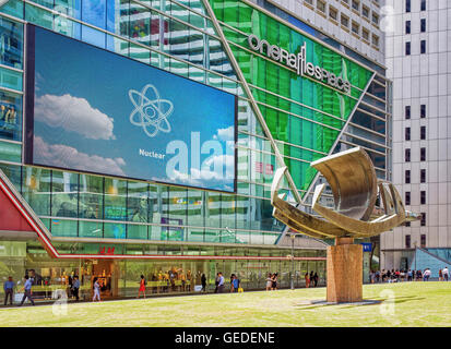 Singapore, Singapore - March 1, 2016: Ship monument at MRT subway entrance at One Raffles Place in Financial Center - Stock Photo