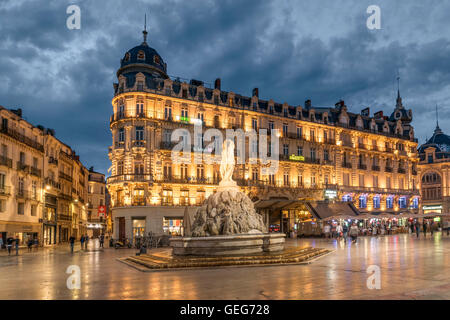 Place de la Comedie, Three graces fountain, Montpellier, France, - Stock Photo