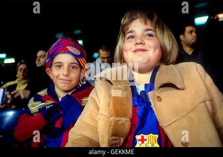 Fans of FC Barcelona. In Camp Nou stadium. Barcelona,spain - Stock Photo