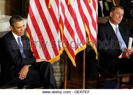 U.S. President Barack Obama (L) sits alongside House Speaker John Boehner during the unveiling of a statue in honor - Stock Photo