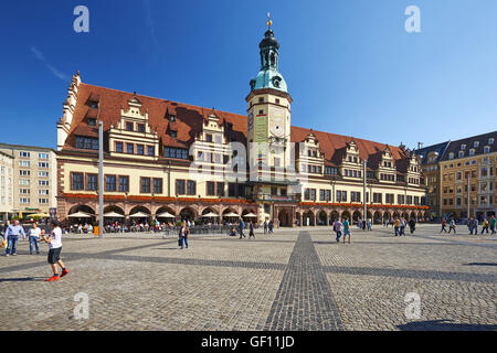Market with old town hall in Leipzig, Germany - Stock Photo