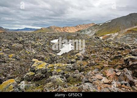 Lava field and mountains, Graenagil Canyon, Landmannalaugar, Fjallabak Nature Reserve, Iceland - Stock Photo