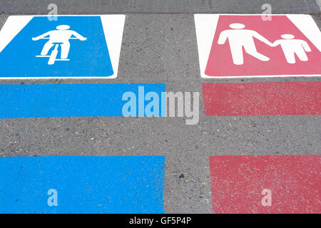 Bicycle and pedestrian sign on the road - Stock Photo