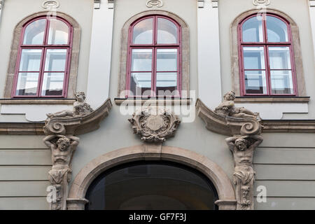 Old house facade in Budapest, Hungary. Old town district. - Stock Photo