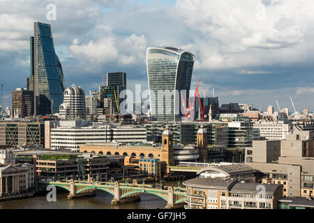 London, England - June 2016. View of London skyline from the Tate Modern Observation Deck - Stock Photo