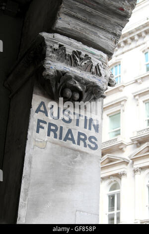 Signs at the entrance to Austin Friars at Old Broad Street and Throgmorton Street in the City of London UK   KATHY - Stock Photo