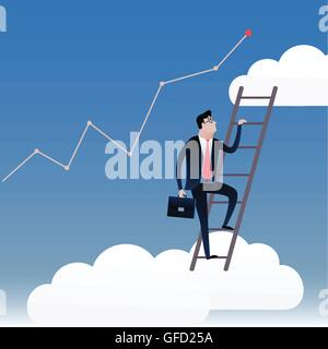 Businessman walking on stairs with the blue sky background and white clouds. Business concept illustration vector - Stockfoto