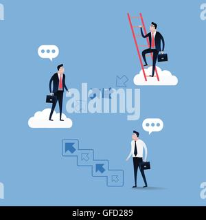 Businessman walking up stairs over blue sky with white clouds. Business concept illustration vector. - Stockfoto