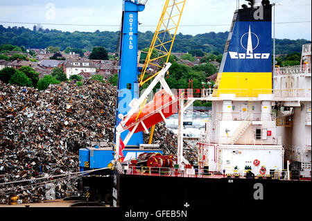 Cargo ship in the Port of Southampton - 18th june 2016 - Stock Photo