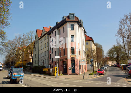 Street view on intersection of Friedrich-Elbert-Strasse and Eduard-Rosenthal-Strasse in Weimar - Stock Photo