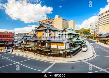 Matsuyama, Japan downtown at the traditional hot springs bathhouse. - Stock Photo