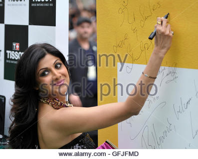 Bollywood actress Shilpa Shetty signs her autograph during the International Indian Film Academy (IIFA) Awards in - Stock Photo