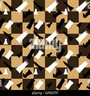 Pattern seamless chess boards and chess pieces. Challenge strategy game. Vector illustration - Stock Photo