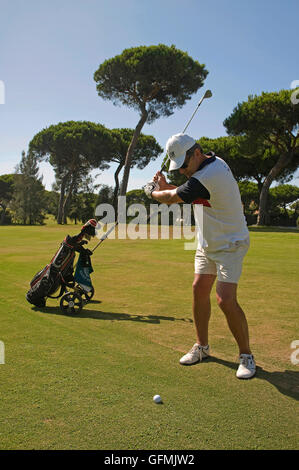 Nuevo Portil Golf - player, Cartaya, Huelva province, Region of Andalusia, Spain, Europe - Stock Photo