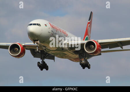 Heathrow/England August 10, 2012: Boeing 777 from Kenia Air landing at Heathrow/Airport. - Stock Photo