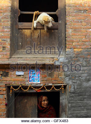 A dog looks out from a window as a woman comes out from the door of her house at the ancient city of Bhaktapur near - Stock Photo