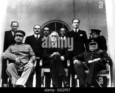 Teheran conference. From the l. to the r.: Joseph Stalin, Franklin D. Roosevelt and Winston Churchill  1943 Iran - Stock Photo