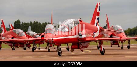 Red Arrows, BAE Hawk T1, Royal Air Force Display Team - Stock Photo