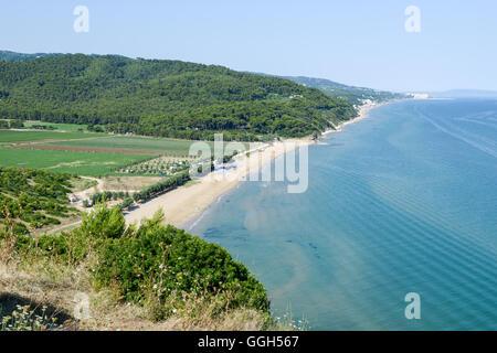 The beach coast near Peschici on Puglia, Italy - Stock Photo