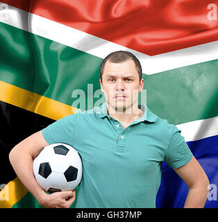 Proud football fan of South Africa - Stock Photo