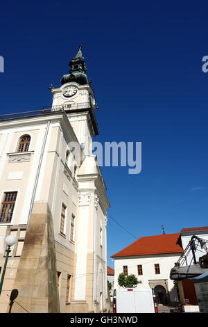 KEZMAROK, SLOVAKIA - JULY 08, 2016: Old historical building of town hall with tower in Kezmarok town, High Tatras, - Stock Photo