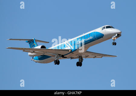 Dniproavia Embraer ERJ145 on approach - Stock Photo