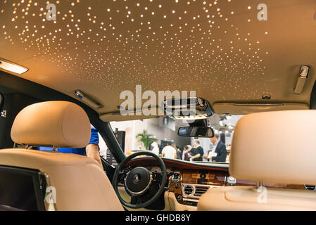 Dubai, UAE. November 10th 2015. The interior of a Rolls Royce Ghost on the opening night of the Dubai International - Stock Photo