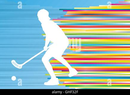 Floorball player man silhouette hockey with stick and ball illustration vector colorful concept with blue background - Stock Photo