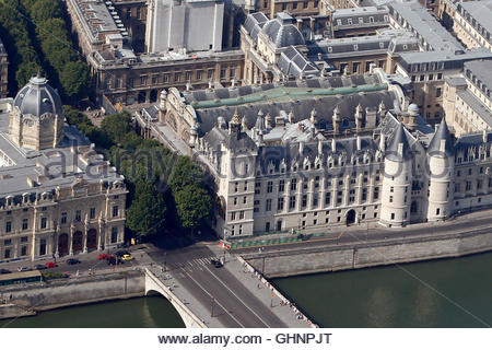 An aerial view shows the Conciergerie building (bottom R) and the Palais de Justice, or courthouse, on the Ile de - Stock Photo
