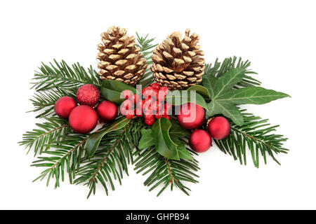 Winter and christmas floral display with holly mistletoe for Christmas decoration 94