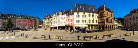 LUX - MULLERTHAL REGION: Place de Marche and gothic Hotel de Ville at Echternach - Stock Photo