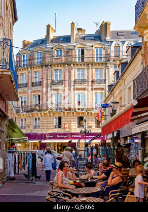 Cafés and restaurants in Trouville sur Mer, Deauville Normandy, France - Stock Photo