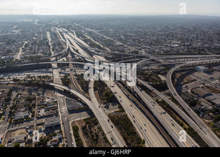 Los Angeles, California, USA - August 6, 2016:  Afternoon aerial of the Harbor 110 and Century 105 freeways interchange - Stock Photo