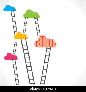 colorful clouds and ladder vector - Stock Photo