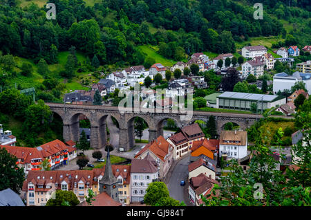 Railway viaduct in Hornberg surrounded by Black forest, Germany - Stock Photo