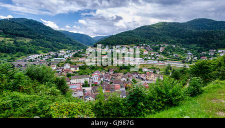 Panoramic view on Hornberg city in valley of Black forest mountains, Baden Wurttemberg land, Germany - Stock Photo
