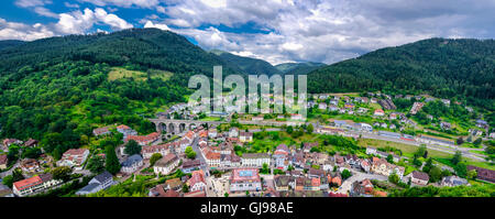 Panoramic view on Hornberg in Black forest mountains, Baden Wurttemberg land, Germany - Stock Photo