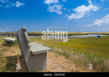 Concrete bench near the walkway to the dunes. Wooden walkway extends over marshland toward the distant dunes and - Stock Photo
