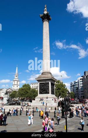 Nelson's Column monument in Trafalgar Square in central London - Stock Photo
