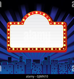 A blank movie theater or theater marquee Stock #1: city town neon gjmn10