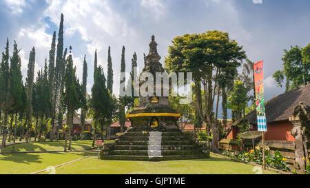 A Buddhist Temple on the grounds of the Pura Ulun Danu Bratan on Bali - Stock Photo