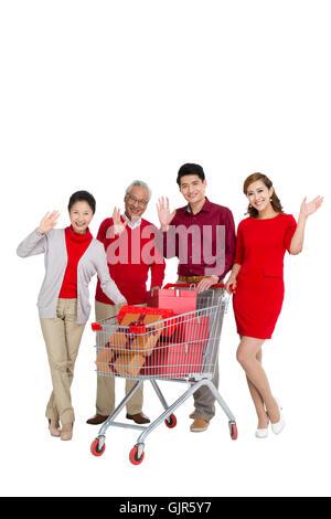 Studio shot a man shopping - Stockfoto