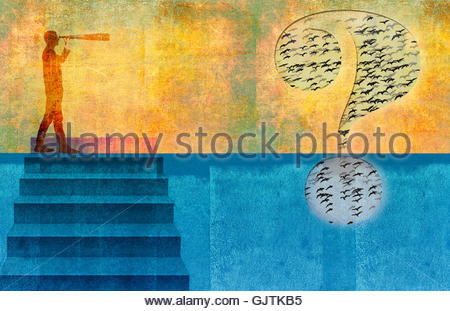 Businessman on top of staircase looking through telescope at birds inside of large question mark - Stock Photo